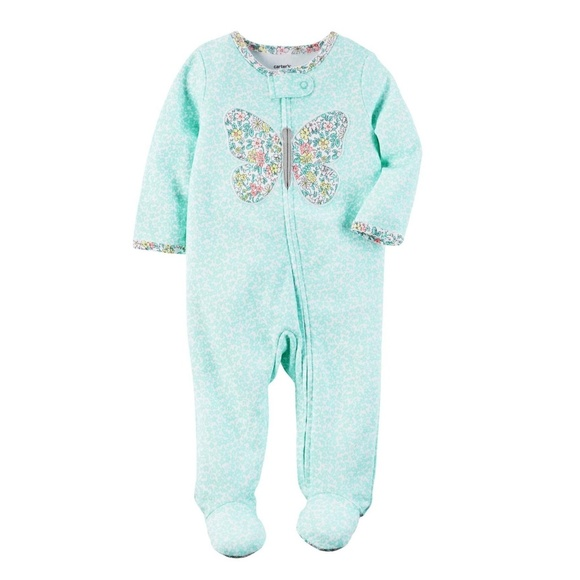 Carter/'s Preemie girl White//Aqua with Butterfly Cotton Footed sleep N Play.